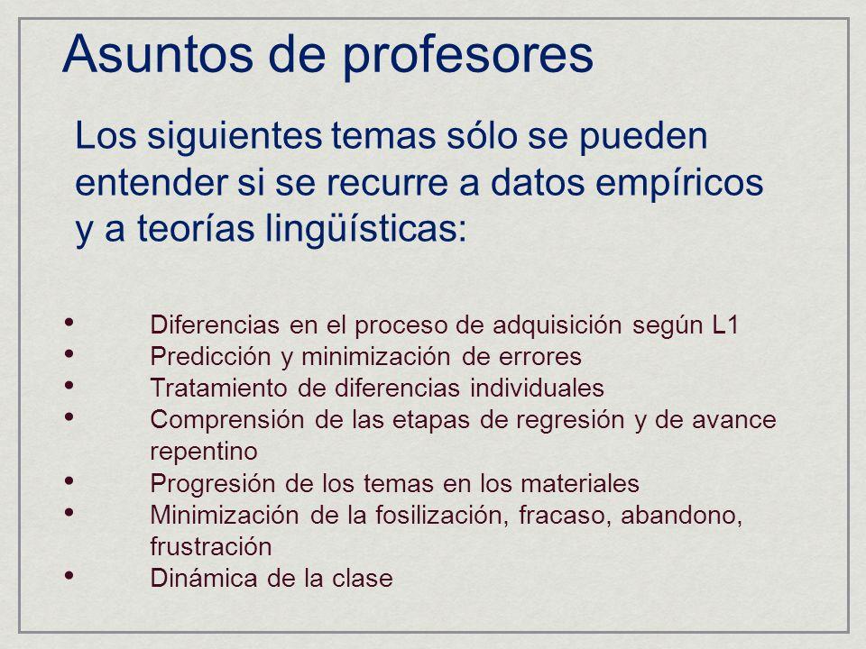 Los siguientes temas sólo se pueden entender si se recurre a datos empíricos y a teorías lingüísticas: Asuntos de profesores Diferencias en el proceso