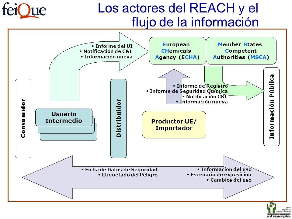 Los actores del REACH y el flujo de la información Productor UE/ Importador Consumidor Usuario Intermedio Distribuidor Member States Competent Authori