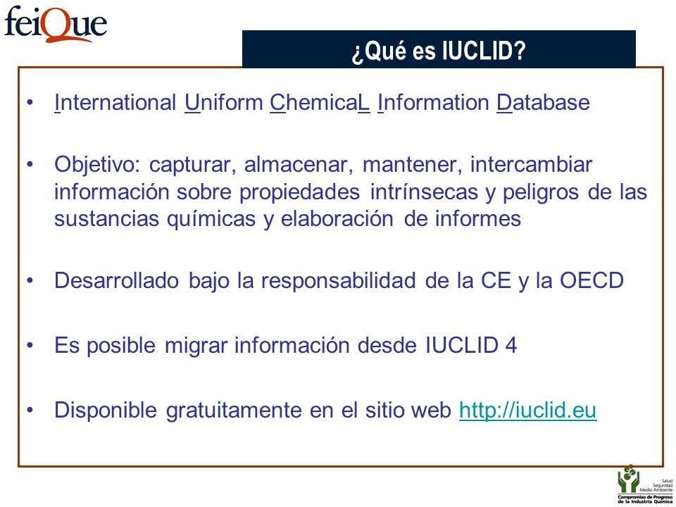 International Uniform ChemicaL Information Database Objetivo: capturar, almacenar, mantener, intercambiar información sobre propiedades intrínsecas y