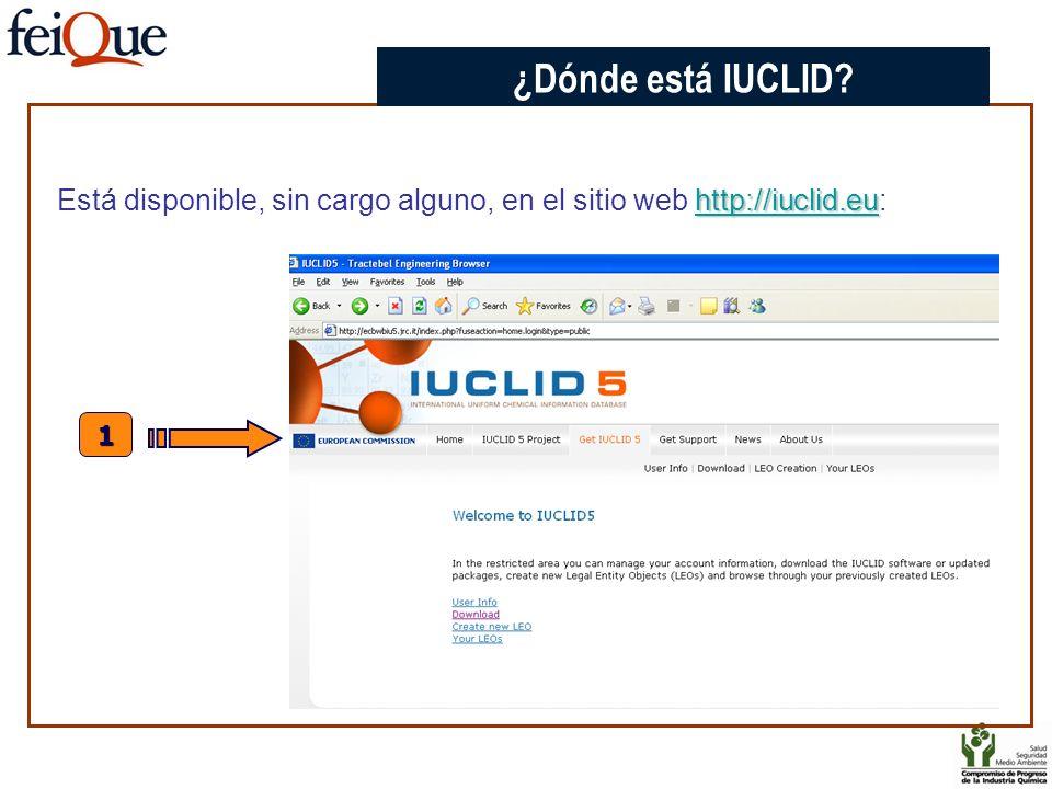 http://iuclid.eu http://iuclid.eu Está disponible, sin cargo alguno, en el sitio web http://iuclid.eu:http://iuclid.eu 1 CHAPTER 3 ¿Dónde está IUCLID?