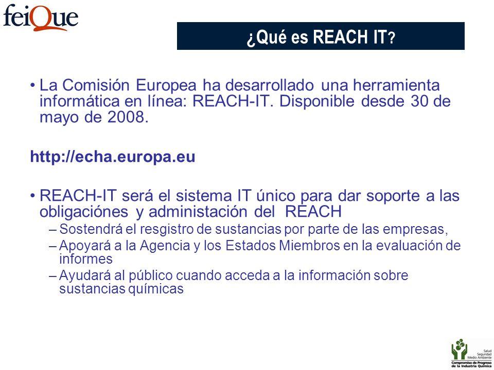 La Comisión Europea ha desarrollado una herramienta informática en línea: REACH-IT. Disponible desde 30 de mayo de 2008. http://echa.europa.eu REACH-I
