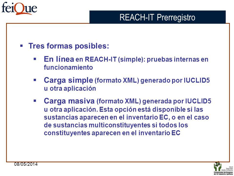 08/05/201424 Tres formas posibles: En línea en REACH-IT (simple): pruebas internas en funcionamiento Carga simple (formato XML) generado por IUCLID5 u