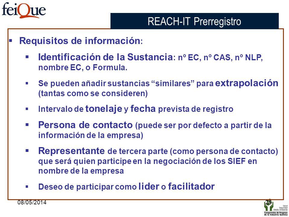 08/05/201425 Requisitos de información : Identificación de la Sustancia : nº EC, nº CAS, nº NLP, nombre EC, o Formula. Se pueden añadir sustancias sim