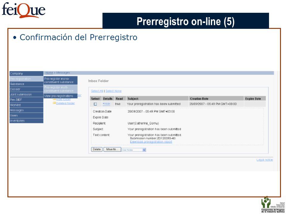 CHAPTER 3 Confirmación del Prerregistro Prerregistro on-line (5)