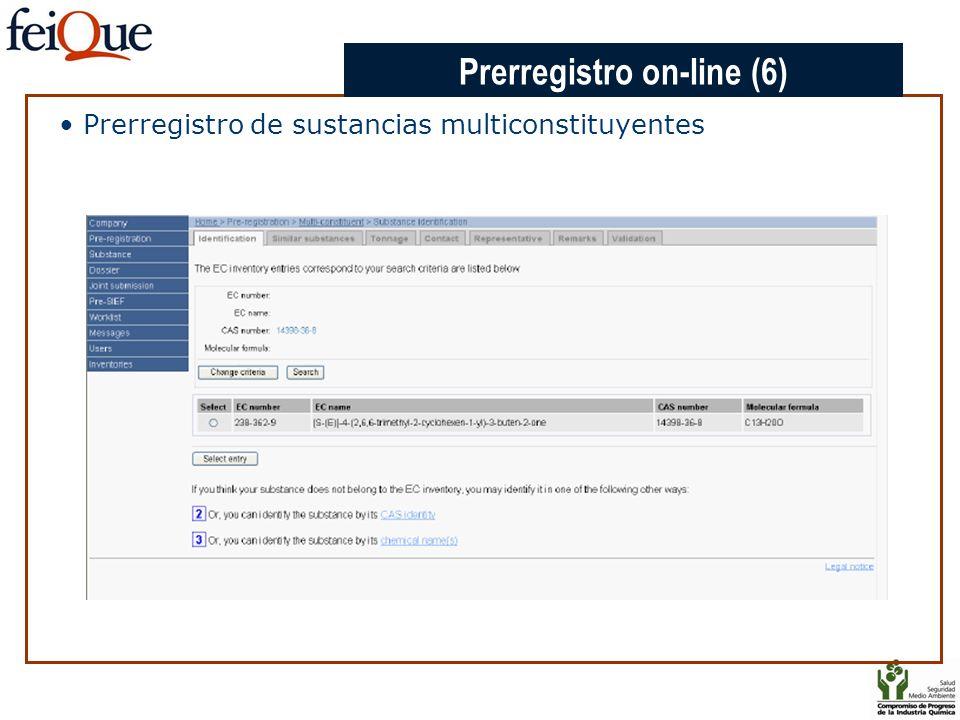 CHAPTER 3 Prerregistro de sustancias multiconstituyentes Prerregistro on-line (6)
