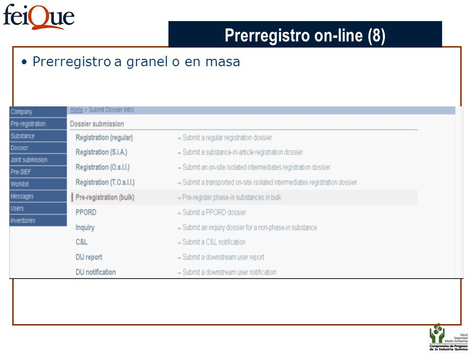 CHAPTER 3 Prerregistro a granel o en masa Prerregistro on-line (8)