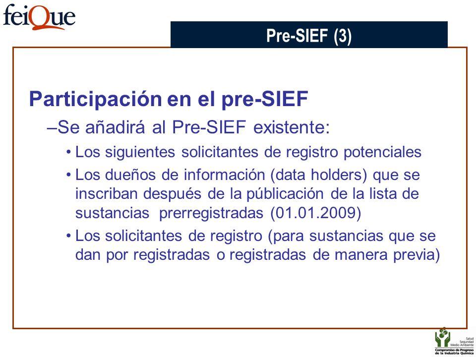 Participación en el pre-SIEF –Se añadirá al Pre-SIEF existente: Los siguientes solicitantes de registro potenciales Los dueños de información (data ho