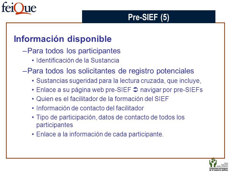 Información disponible –Para todos los participantes Identificación de la Sustancia –Para todos los solicitantes de registro potenciales Sustancias su