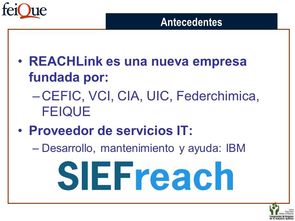 REACHLink es una nueva empresa fundada por: –CEFIC, VCI, CIA, UIC, Federchimica, FEIQUE Proveedor de servicios IT: –Desarrollo, mantenimiento y ayuda: