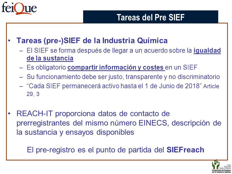 Tareas (pre-)SIEF de la Industria Química –El SIEF se forma después de llegar a un acuerdo sobre la igualdad de la sustancia –Es obligatorio compartir