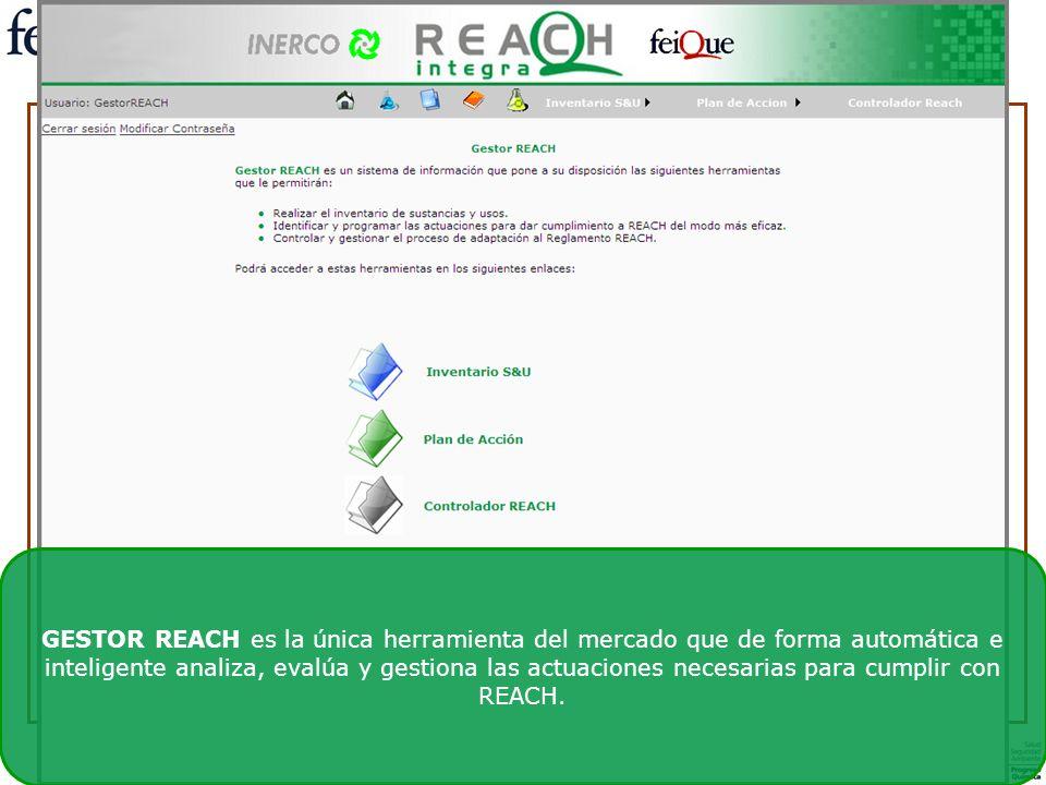 GESTOR REACH es la única herramienta del mercado que de forma automática e inteligente analiza, evalúa y gestiona las actuaciones necesarias para cump