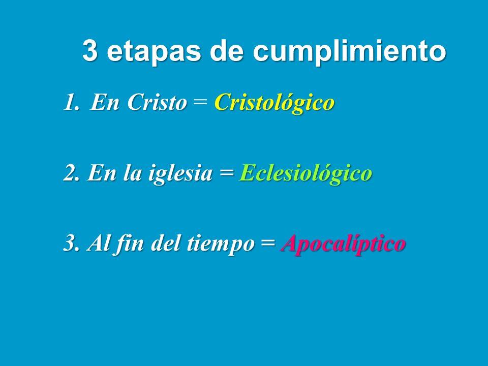 3 etapas de cumplimiento 1.En CristoCristológico 1.En Cristo = Cristológico 2. En la iglesia = Eclesiológico 3. Al fin del tiempo = Apocalíptico