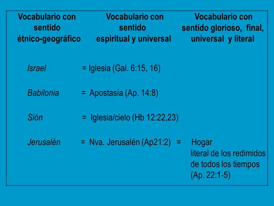 Vocabulario con sentido étnico-geográfico Vocabulario con sentido espiritual y universal Vocabulario con sentido glorioso, final, universal y literal