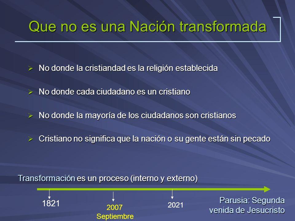 Que no es una Nación transformada No donde la cristiandad es la religión establecida No donde la cristiandad es la religión establecida No donde cada