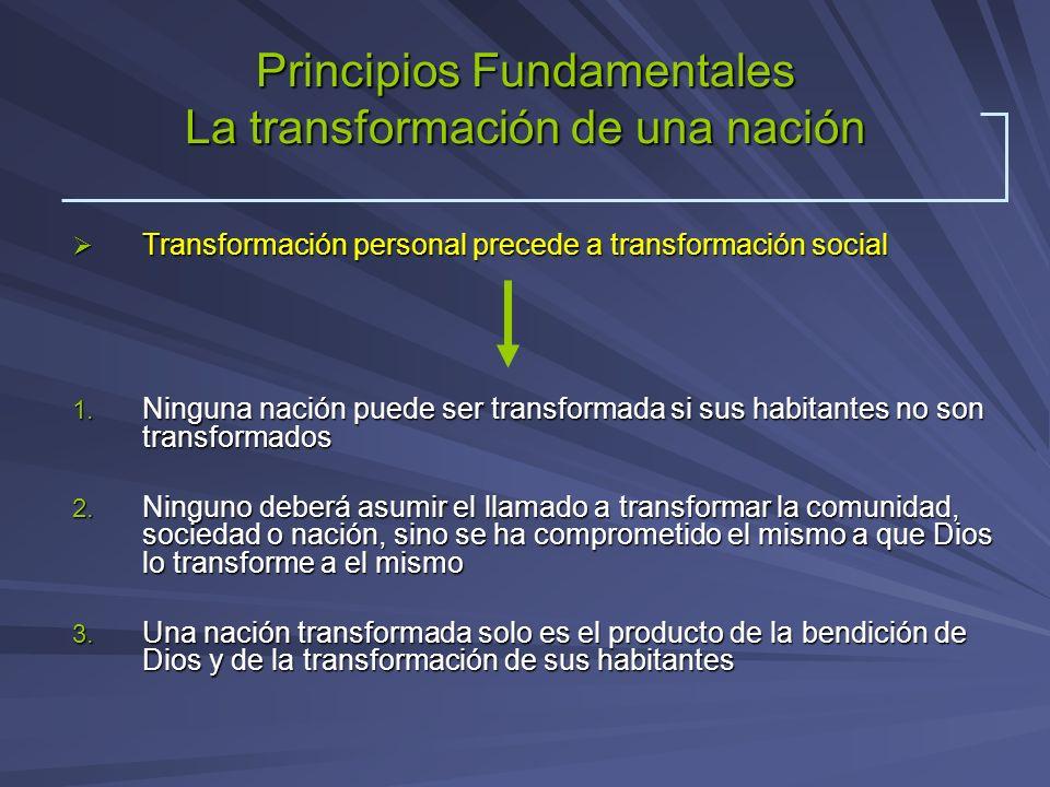 Principios Fundamentales La transformación de una nación Transformación personal precede a transformación social Transformación personal precede a tra