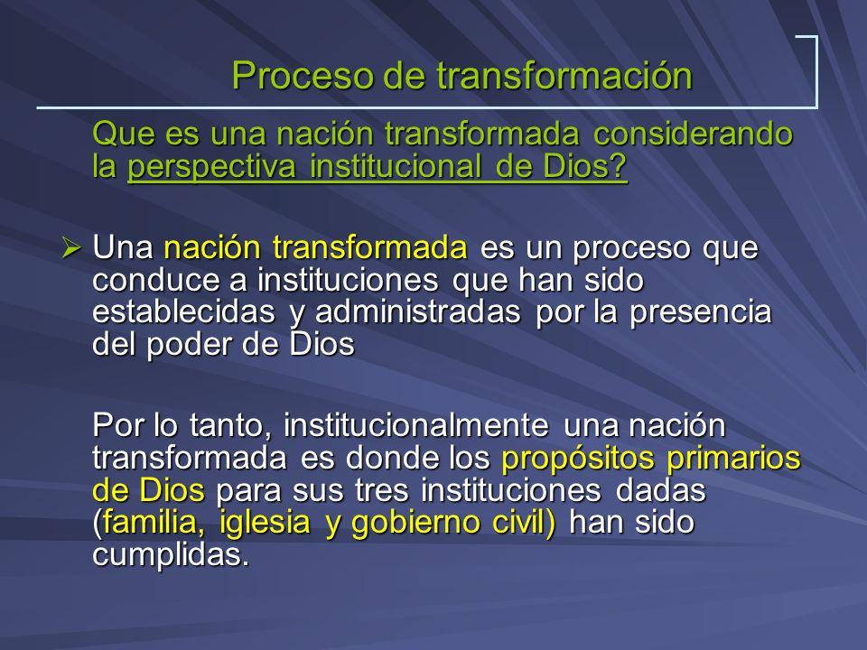 Que es una nación transformada considerando la perspectiva institucional de Dios? Una nación transformada es un proceso que conduce a instituciones qu