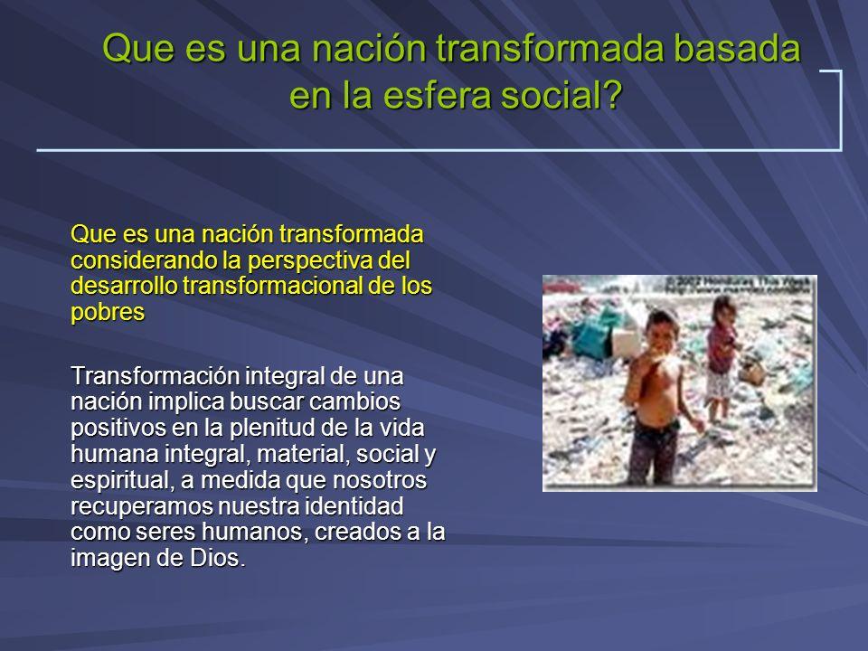 Que es una nación transformada considerando la perspectiva del desarrollo transformacional de los pobres Transformación integral de una nación implica