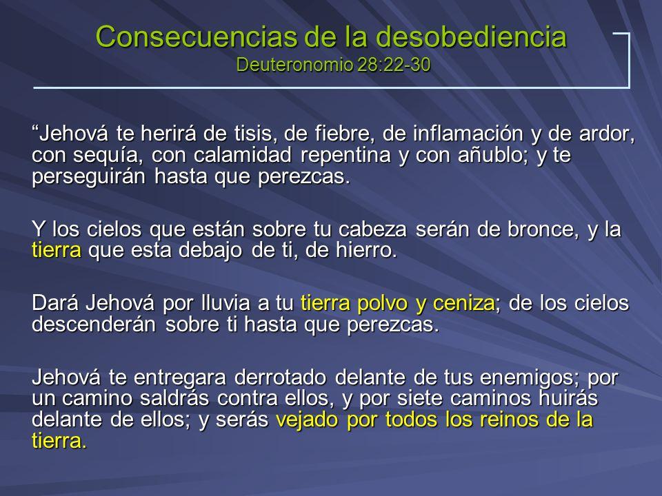 Consecuencias de la desobediencia Deuteronomio 28:22-30 Jehová te herirá de tisis, de fiebre, de inflamación y de ardor, con sequía, con calamidad rep