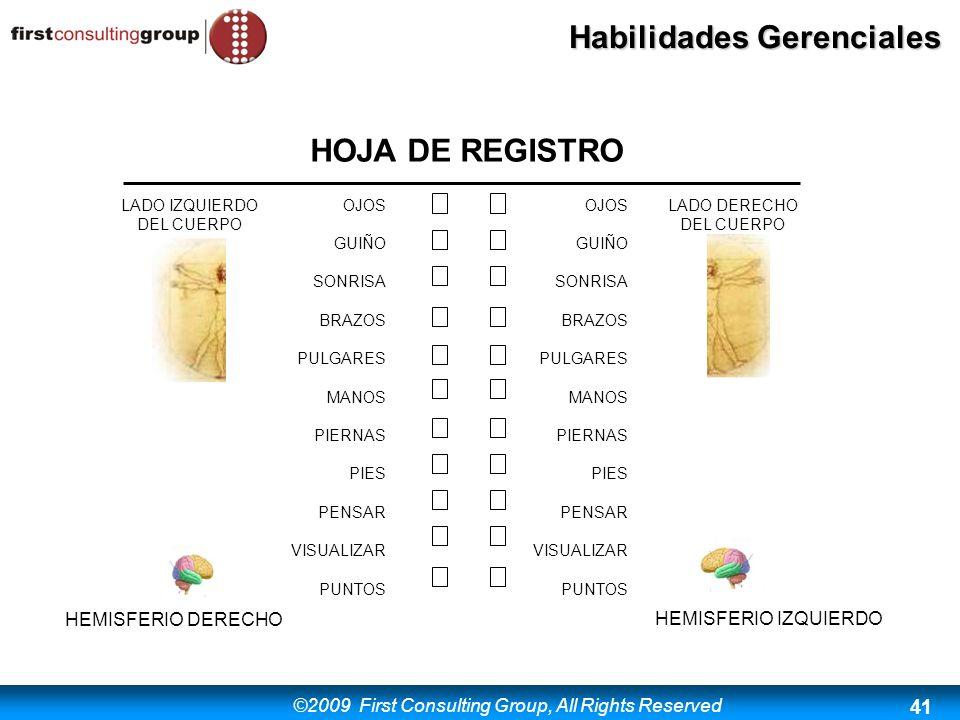 ©2009 First Consulting Group, All Rights Reserved Habilidades Gerenciales 41 HOJA DE REGISTRO LADO DERECHO DEL CUERPO HEMISFERIO IZQUIERDO LADO IZQUIE