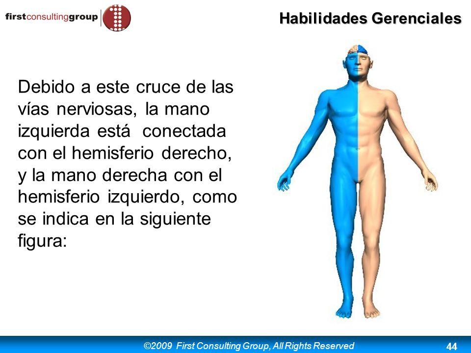 ©2009 First Consulting Group, All Rights Reserved Habilidades Gerenciales 44 Debido a este cruce de las vías nerviosas, la mano izquierda está conecta