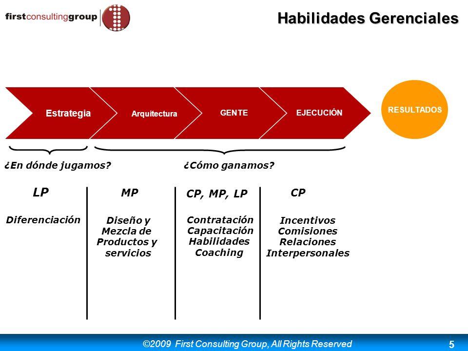 ©2009 First Consulting Group, All Rights Reserved Habilidades Gerenciales 5 RESULTADOS Estrategia Arquitectura GENTEEJECUCIÓN ¿En dónde jugamos?¿Cómo