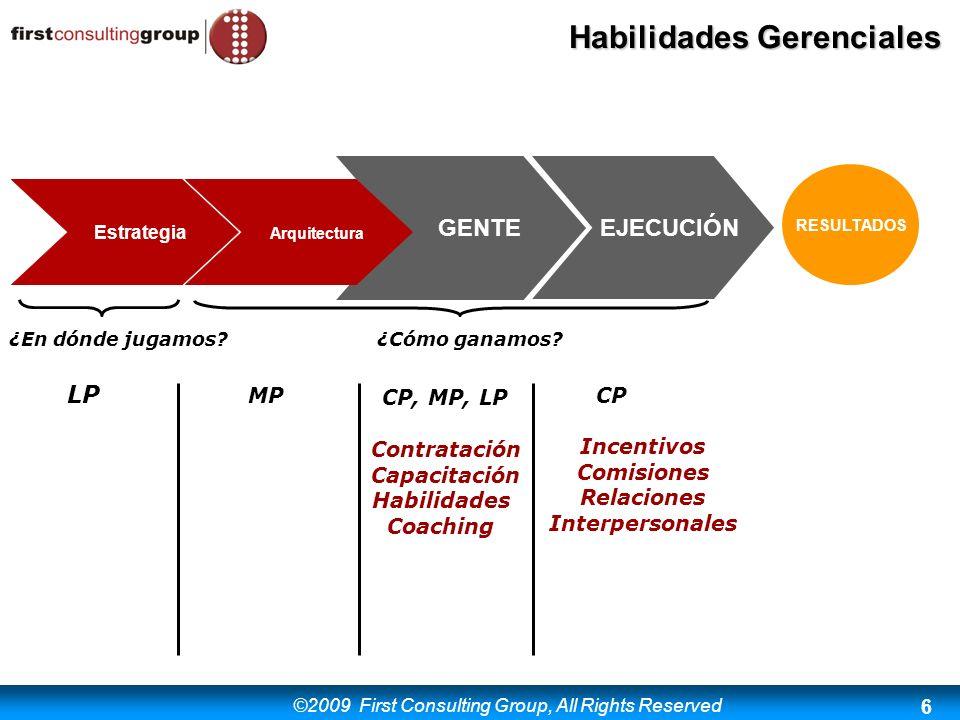©2009 First Consulting Group, All Rights Reserved Habilidades Gerenciales 6 RESULTADOS Estrategia Arquitectura GENTEEJECUCIÓN ¿En dónde jugamos?¿Cómo