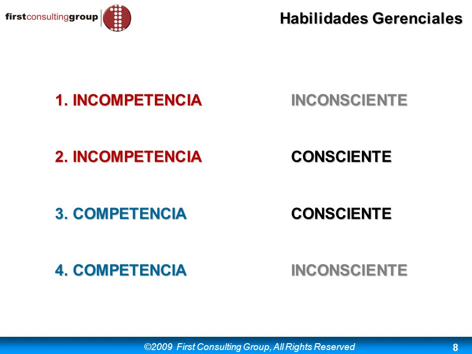 ©2009 First Consulting Group, All Rights Reserved Habilidades Gerenciales 9 I.