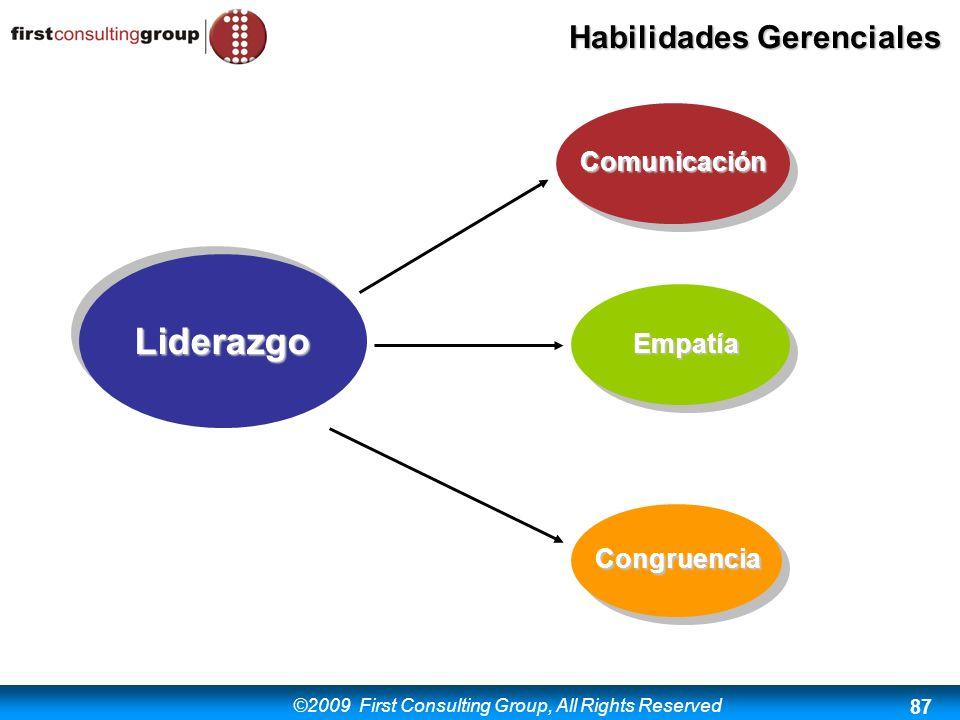 ©2009 First Consulting Group, All Rights Reserved Habilidades Gerenciales 87 Liderazgo Comunicación Empatía Congruencia