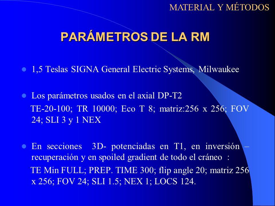 PARÁMETROS DE LA RM 1,5 Teslas SIGNA General Electric Systems, Milwaukee Los parámetros usados en el axial DP-T2 TE-20-100; TR 10000; Eco T 8; matriz: