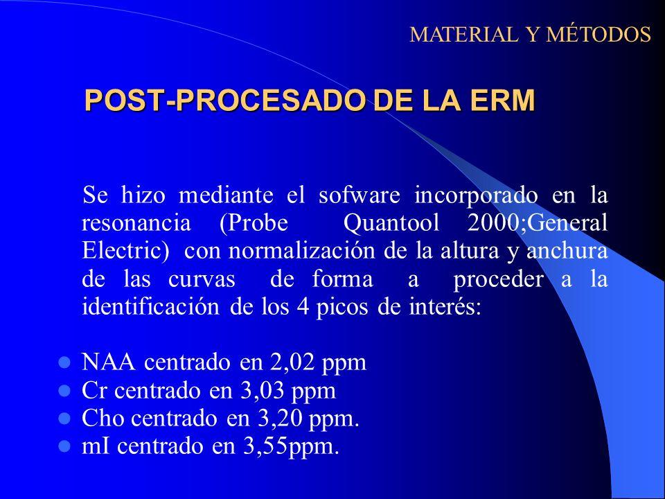 POST-PROCESADO DE LA ERM Se hizo mediante el sofware incorporado en la resonancia (Probe Quantool 2000;General Electric) con normalización de la altur