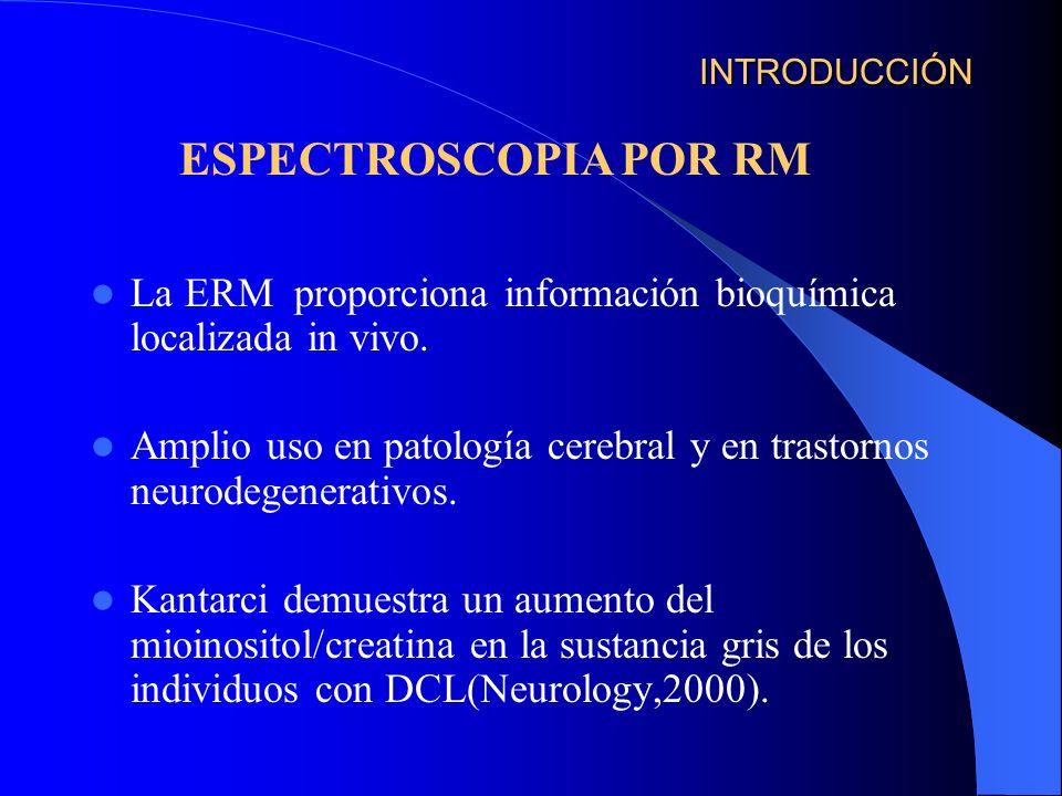 INTRODUCCIÓN La ERM proporciona información bioquímica localizada in vivo. Amplio uso en patología cerebral y en trastornos neurodegenerativos. Kantar