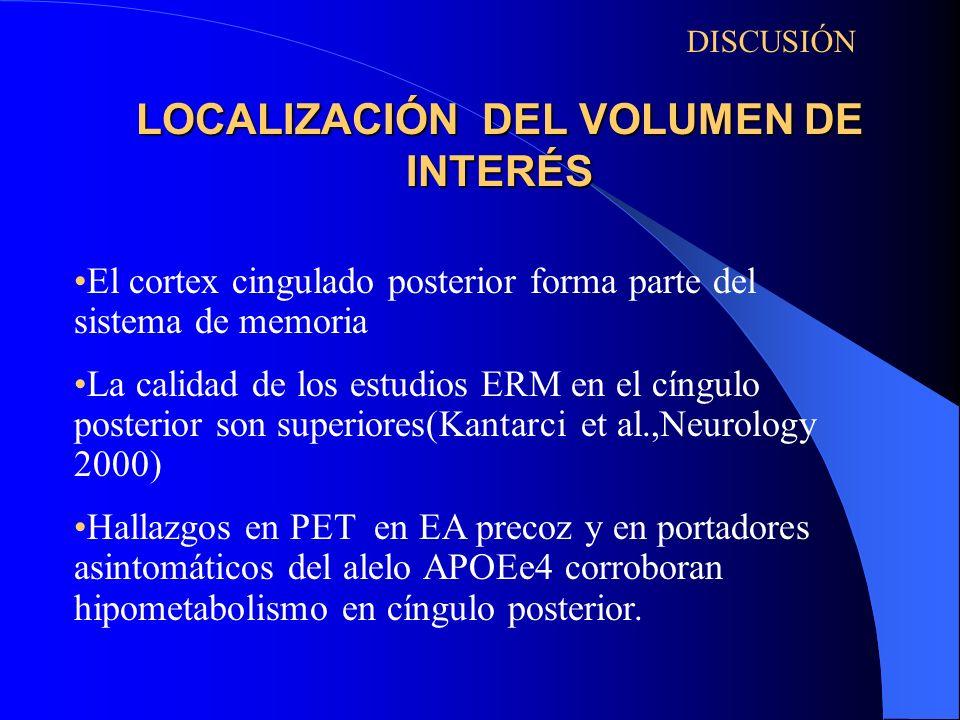 LOCALIZACIÓN DEL VOLUMEN DE INTERÉS DISCUSIÓN El cortex cingulado posterior forma parte del sistema de memoria La calidad de los estudios ERM en el cí