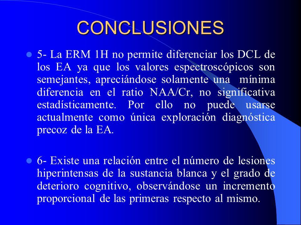 CONCLUSIONES 5- La ERM 1H no permite diferenciar los DCL de los EA ya que los valores espectroscópicos son semejantes, apreciándose solamente una míni
