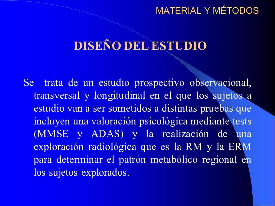 MATERIAL Y MÉTODOS Se trata de un estudio prospectivo observacional, transversal y longitudinal en el que los sujetos a estudio van a ser sometidos a