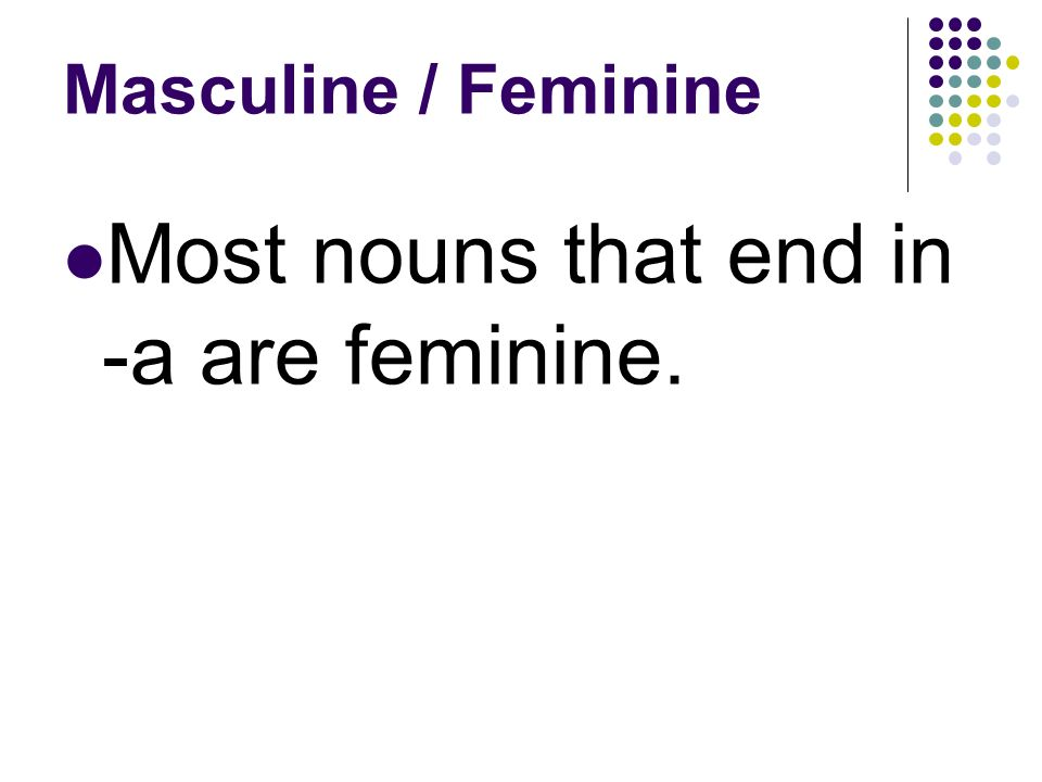 Masculine / Feminine Most nouns that end in -o are masculine.