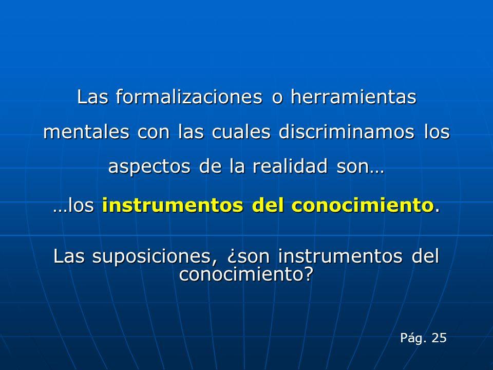 Las formalizaciones o herramientas mentales con las cuales discriminamos los aspectos de la realidad son… …los instrumentos del conocimiento. Las supo