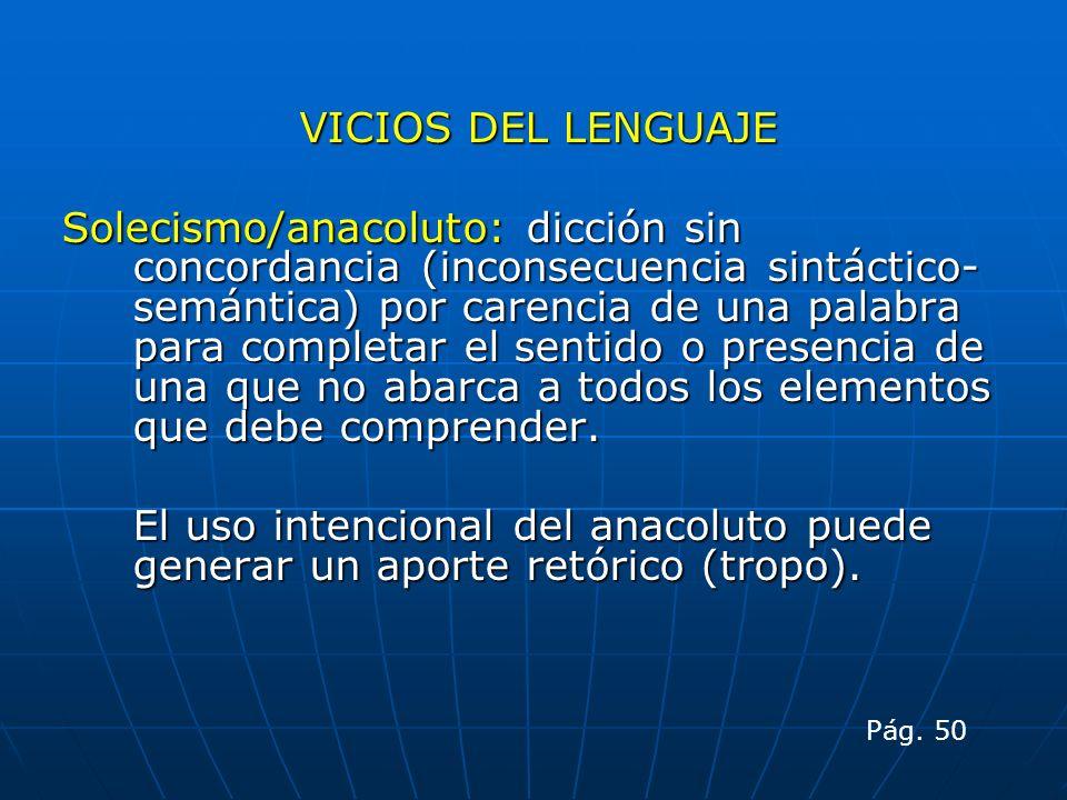 VICIOS DEL LENGUAJE Solecismo/anacoluto: dicción sin concordancia (inconsecuencia sintáctico- semántica) por carencia de una palabra para completar el