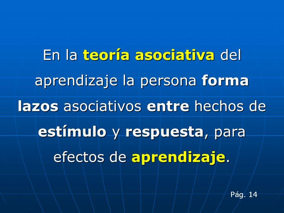 En la teoría asociativa del aprendizaje la persona forma lazos asociativos entre hechos de estímulo y respuesta, para efectos de aprendizaje. Pág. 14
