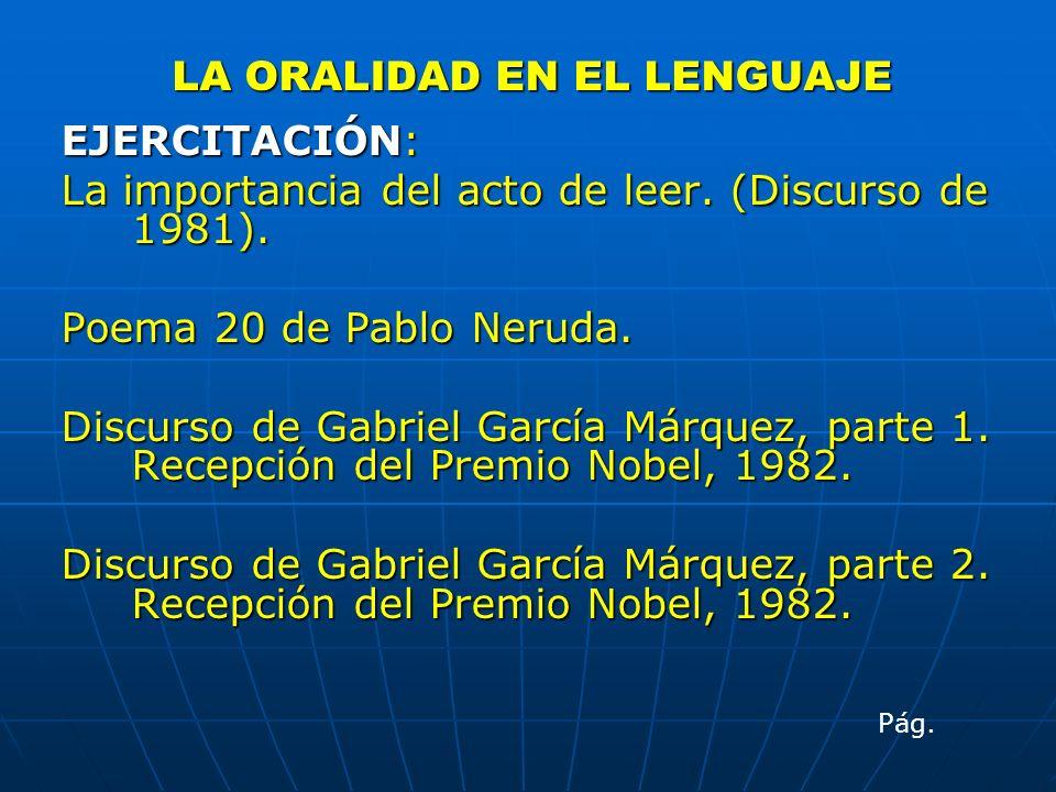 LA ORALIDAD EN EL LENGUAJE EJERCITACIÓN: La importancia del acto de leer. (Discurso de 1981). Poema 20 de Pablo Neruda. Discurso de Gabriel García Már