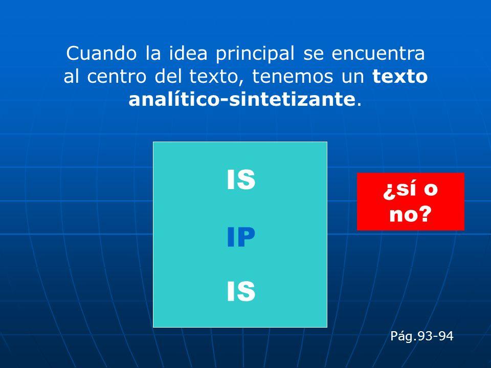 Cuando la idea principal se encuentra al centro del texto, tenemos un texto analítico-sintetizante. IP IS Pág.93-94 ¿sí o no?