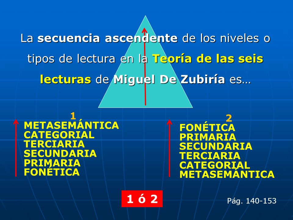 La secuencia ascendente de los niveles o tipos de lectura en la Teoría de las seis lecturas de Miguel De Zubiría es… 1 METASEMÁNTICA CATEGORIAL TERCIA
