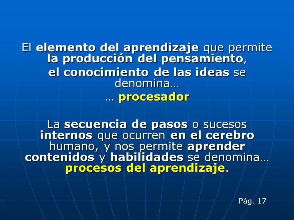 El elemento del aprendizaje que permite la producción del pensamiento, el conocimiento de las ideas se denomina… … procesador La secuencia de pasos o