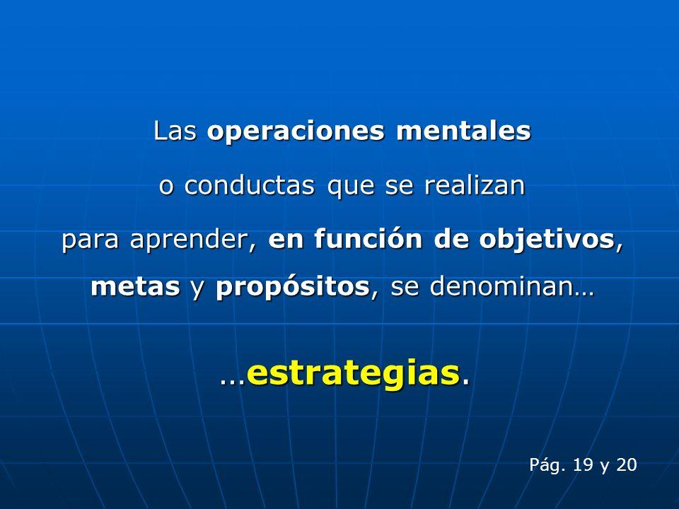 Las operaciones mentales o conductas que se realizan para aprender, en función de objetivos, metas y propósitos, se denominan… …estrategias. Pág. 19 y