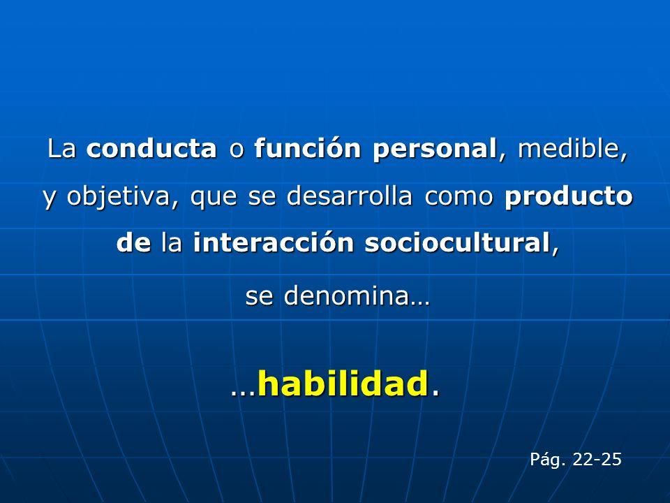 La conducta o función personal, medible, y objetiva, que se desarrolla como producto de la interacción sociocultural, se denomina… …habilidad. Pág. 22