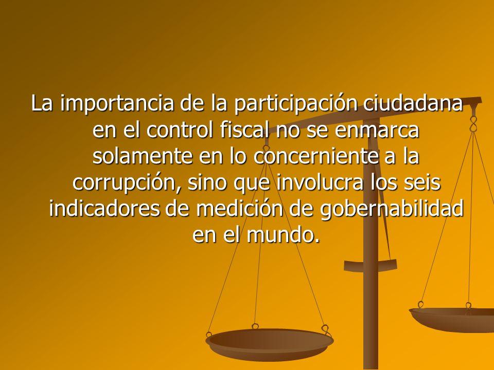 La importancia de la participación ciudadana en el control fiscal no se enmarca solamente en lo concerniente a la corrupción, sino que involucra los s