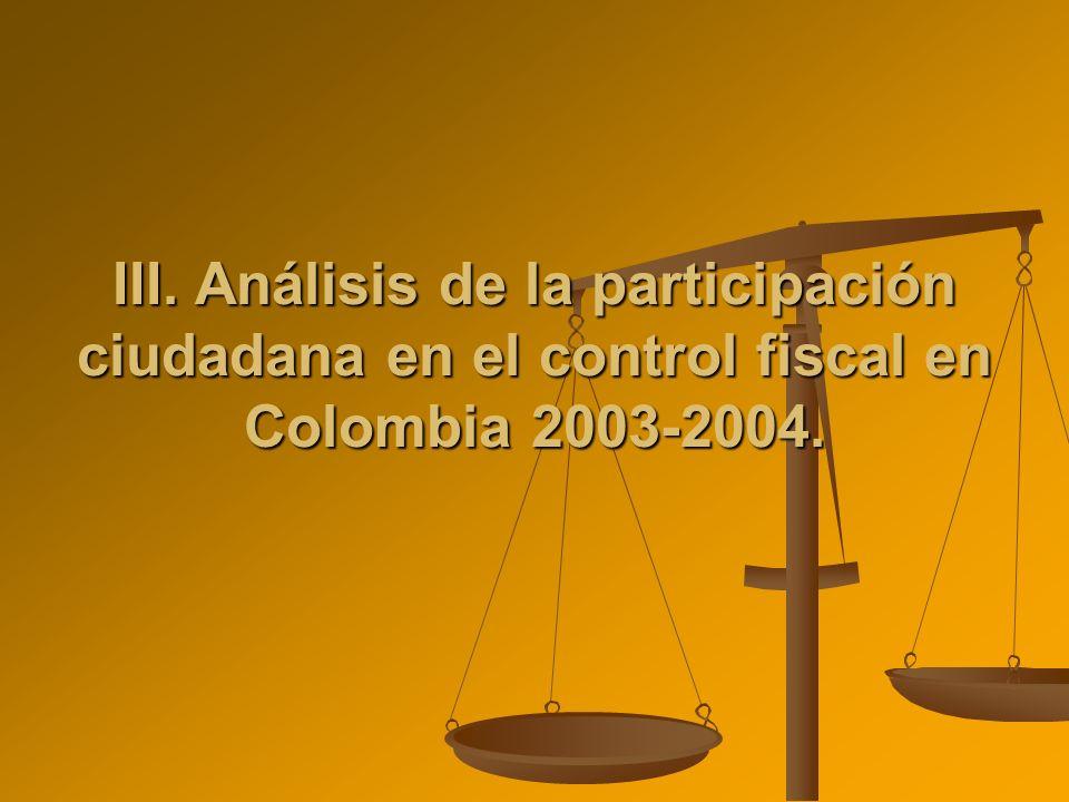 III. Análisis de la participación ciudadana en el control fiscal en Colombia 2003-2004.