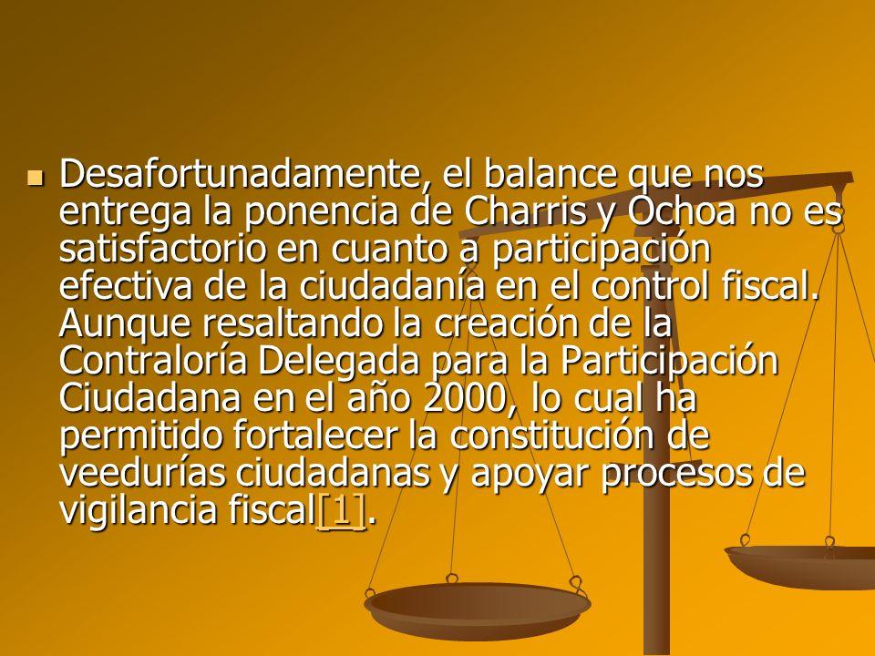 Desafortunadamente, el balance que nos entrega la ponencia de Charris y Ochoa no es satisfactorio en cuanto a participación efectiva de la ciudadanía