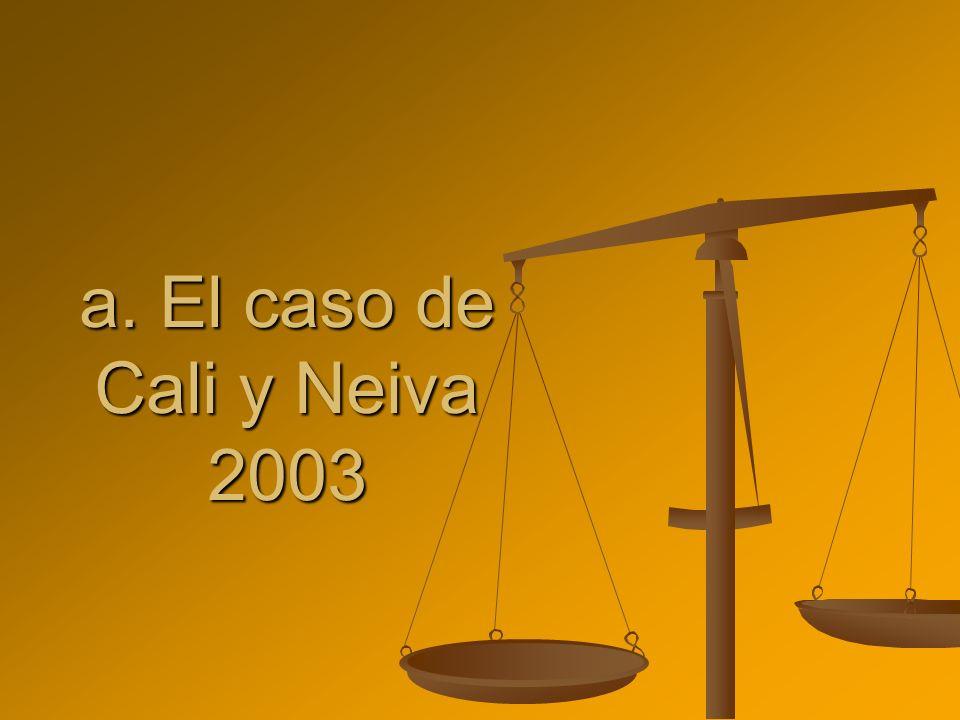a. El caso de Cali y Neiva 2003