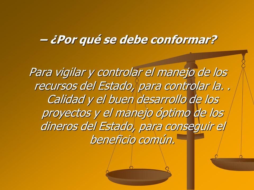 – ¿Por qué se debe conformar? Para vigilar y controlar el manejo de los recursos del Estado, para controlar la.. Calidad y el buen desarrollo de los p