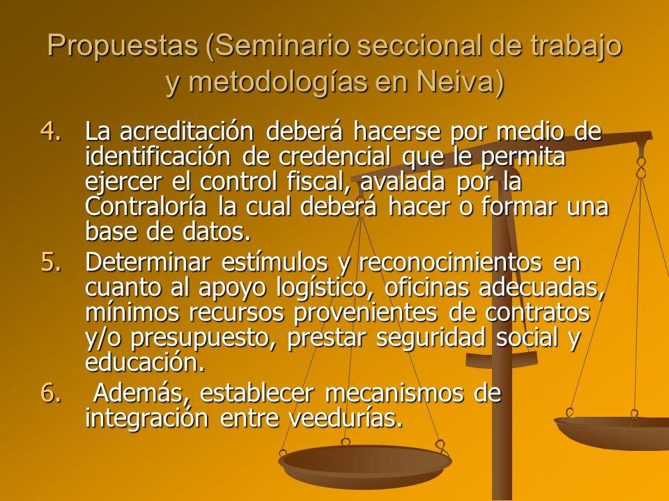 Propuestas (Seminario seccional de trabajo y metodologías en Neiva) 4.La acreditación deberá hacerse por medio de identificación de credencial que le